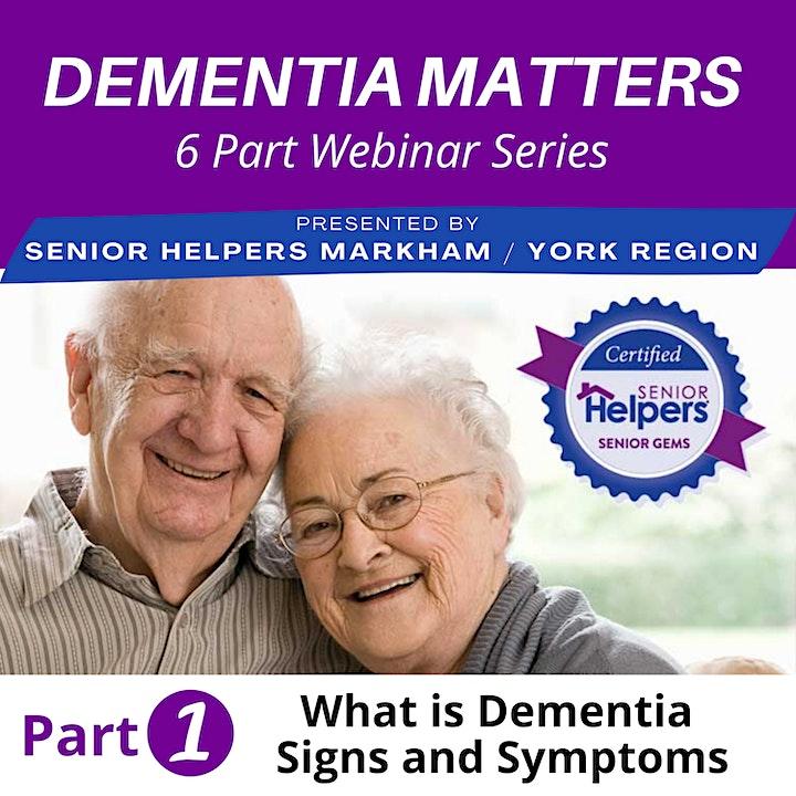 Dementia Matters I 6 Part Live  Series Part 1) Dementia Signs and Symptoms image