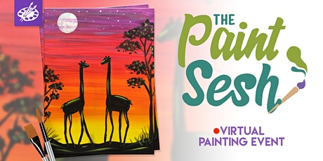 "Online Painting Class – ""Giraffe Journey"" (Virtual Paint Night at Home) tickets"