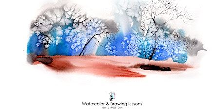 Watercolor & Drawing live Online classes10 sessions/term tickets