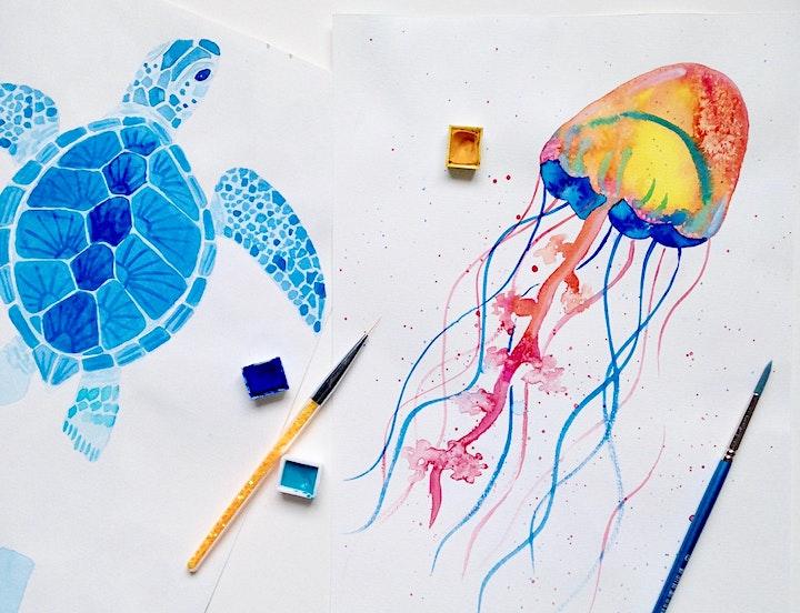 Underwater Watercolour Adult Workshop - Sea turtles and jellyfish image