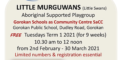 Aboriginal  Cultural Playgroup  'Little Murguwans' 1 ticket per adult/child tickets