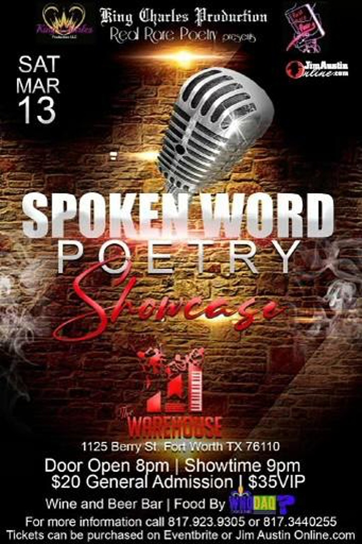 Spoken Word Poetry Showcase-3/13/2021, 9PM  @ The Warehouse in Fort  Worth. image