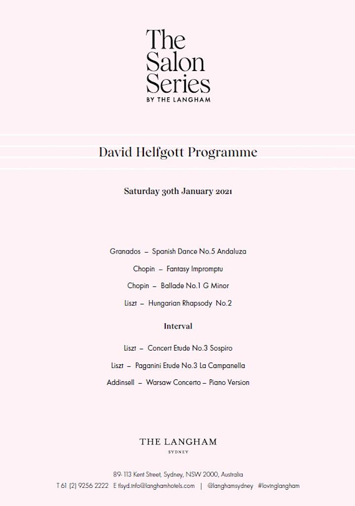 The  Salon Series by The Langham with David Helfgott image