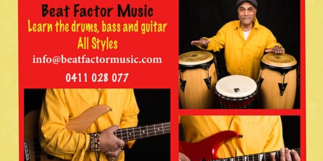 Music Lessons in Drums, Bass, Guitar & Keyboard- Start Feb 2021 tickets