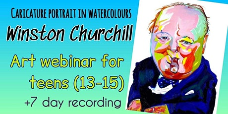 Caricature Portrait in Watercolours - Online Art Webinar for Teens tickets