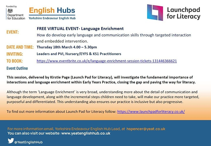 Yorkshire Endeavour English Hub - Language Enrichment Session image