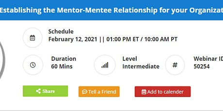 Establishing the Mentor-Mentee Relationship for your Organization tickets