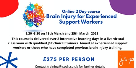 2 day Brain Injury for Experienced Support Workers tickets