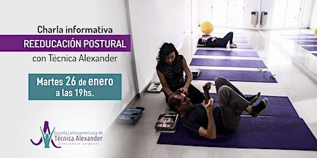 Charla sobre el programa anual de Reeducación postural y Técnica Alexander entradas