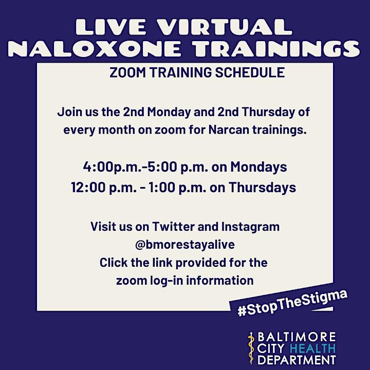 Baltimore City Health Department Virtual Naloxone Trainings image