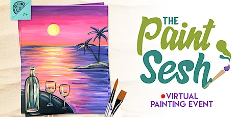 "Online Painting Class – ""Happy Hour Sunset"" (Virtual Paint and Sip Home) tickets"