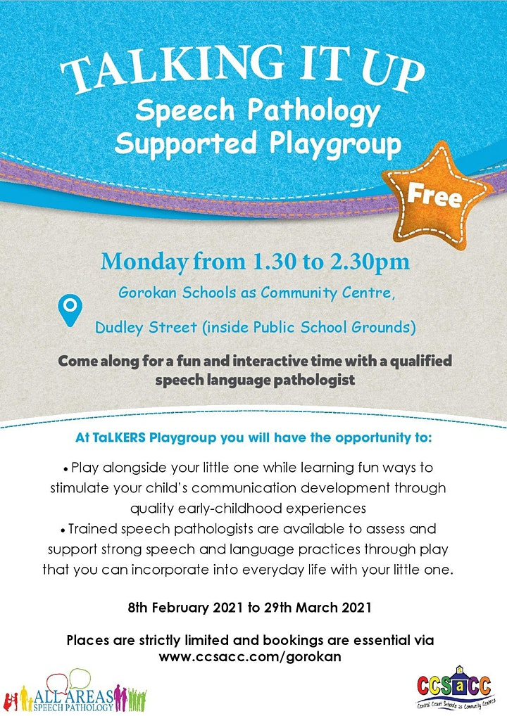 Talking it Up speech support playgroup  0-5yrs   8 weeks 8/02/21- 29/03/21 image