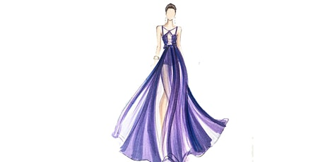 60min Fashion Sketching  Lesson -  Chiffon Halter Gown  @5PM (Ages 7+) tickets