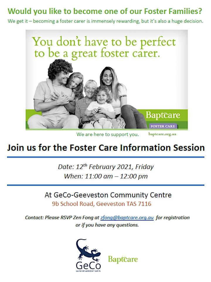 Foster Care Information Session  - GeCo-Geeveston Community Centre Tasmania image