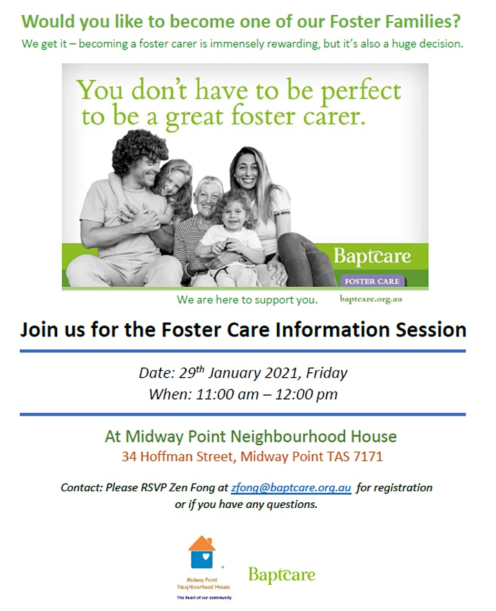 Foster Care Information Session - Midway Point Neighbourhood House Tasmania image