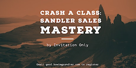Sandler Sales Mastery Training tickets
