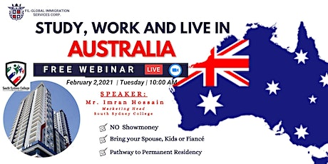 FREE WEBINAR : STUDY, WORK AND LIVE IN AUSTRALIA tickets