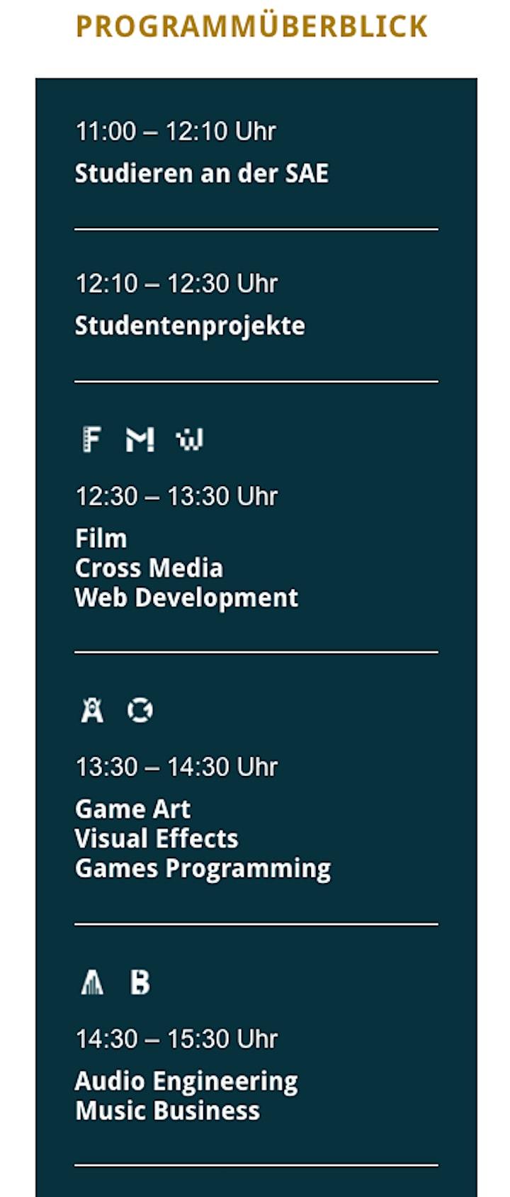 """SAE Institute Wien - """"OPEN CAMPUS DAY"""" - Virtueller Tag der offenen Tür image"""