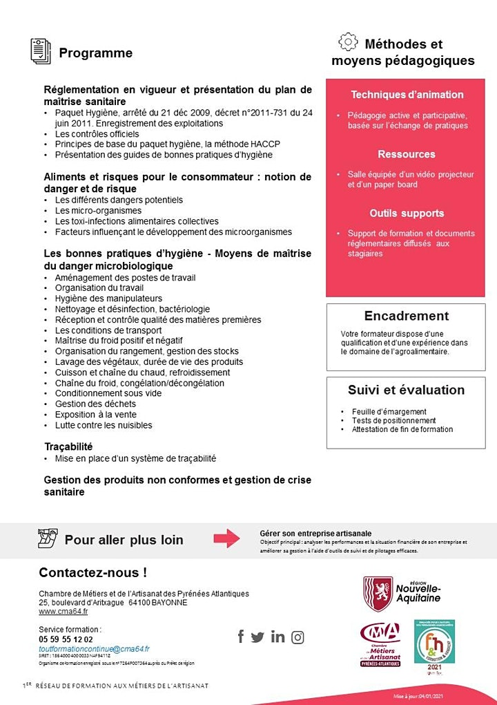 Image pour HYGIENE  ALIMENTAIRE (HACCP) - 2 jours , 14 heures