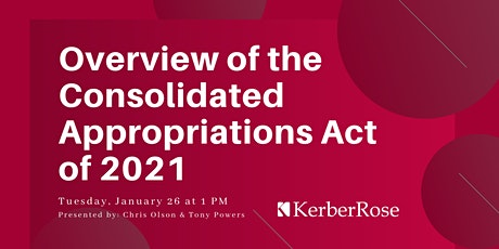 Overview of the Consolidated Appropriations Act of 2021 tickets