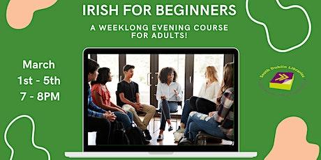 Irish for Beginners: Weeklong evening course via Zoom tickets