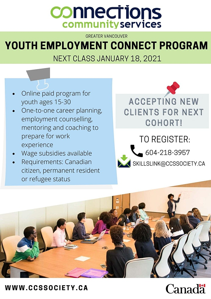 ONLINE PAID YOUTH EMPLOYMENT PROGRAM GREATER VANCOUVER- Starts January 18th image