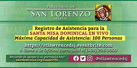DOMINGO, 24 de Enero 2021 @ 12:30 PM Registración para la Misa  EN VIVO boletos