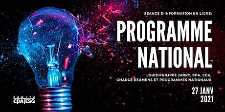 Séance d'information: Programme national tickets