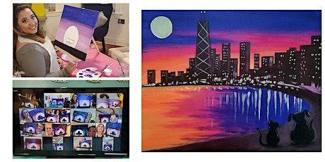 "Live Virtual Painting Class ""Cat & Dog City Skyline"" tickets"