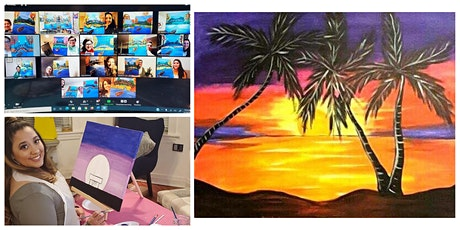 """Live Virtual Painting Class """"Palm Tree Sunset"""" tickets"""