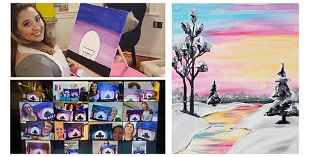 """Live Virtual Painting Class """"Colorful Winter Sky"""" tickets"""