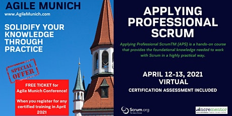 Agile Munich | Certified Training | APPLYING PROFESSIONAL SCRUM™ TRAINING tickets