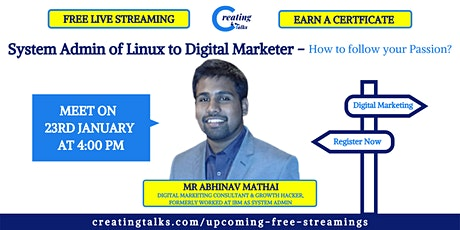 System Admin of Linux to Digital Marketer | How to follow your Passion? - B tickets