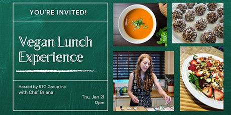 Vegan Virtual Lunch Cooking Experience with Chef Briana & RTG Group Inc tickets