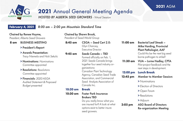 Alberta Seed Growers Association Annual General Meeting 2021- Virtual Event image