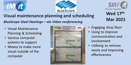 VICTAS Visual Maintenance Planning and Scheduling - BlueScope Hastings tickets