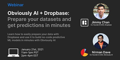 Obviously AI + Dropbase: Prepare your data and get predictions in minutes! tickets