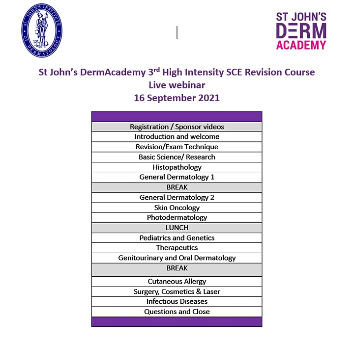 St John's DermAcademy 3rd High Intensity Dermatology SCE Revision Course image