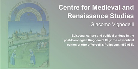 Centre for Medieval and Renaissance Studies: Giacomo Vignodelli tickets