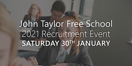 John Taylor Free School 2021 Recruitment tickets