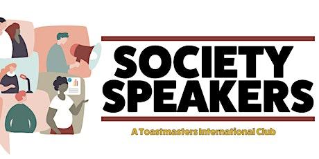Improve your public speaking skills - Online webinar with Society Speakers. biglietti