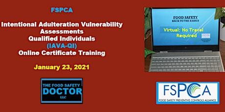 FSPCA Food Defense  Qualified Individuals (IAVA-QI) Virtual Training tickets