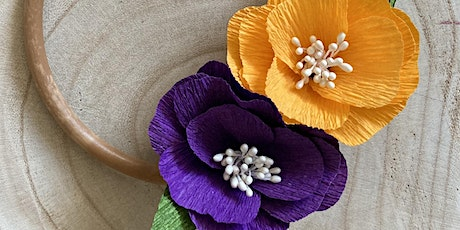 Paper flower wreath making - online craft workshop tickets
