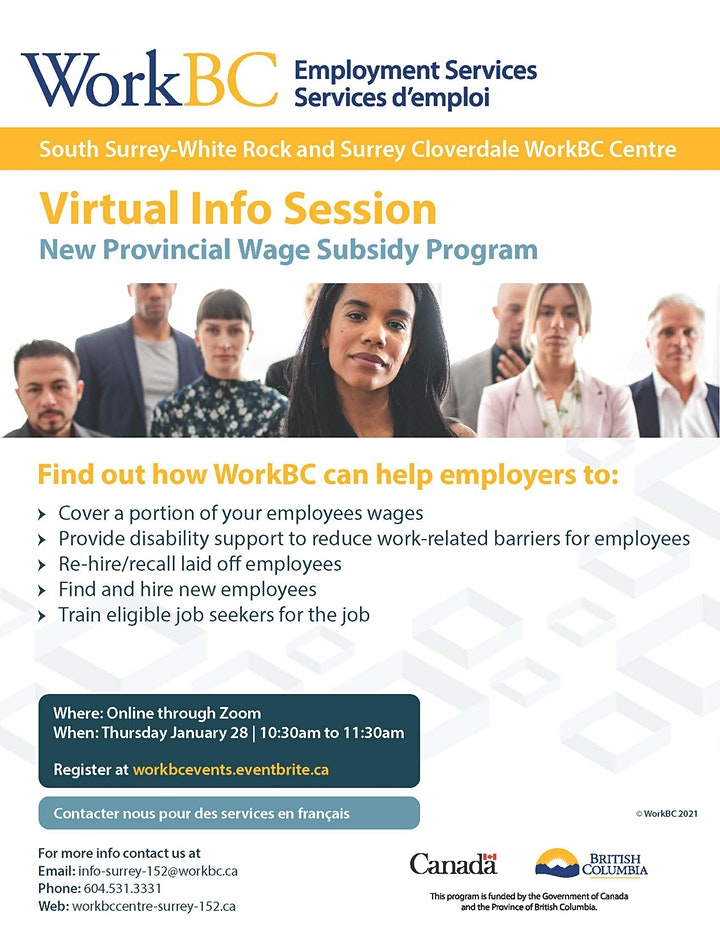 WorkBC virtual Info Session - New Provincial Wage Subsidy Program image