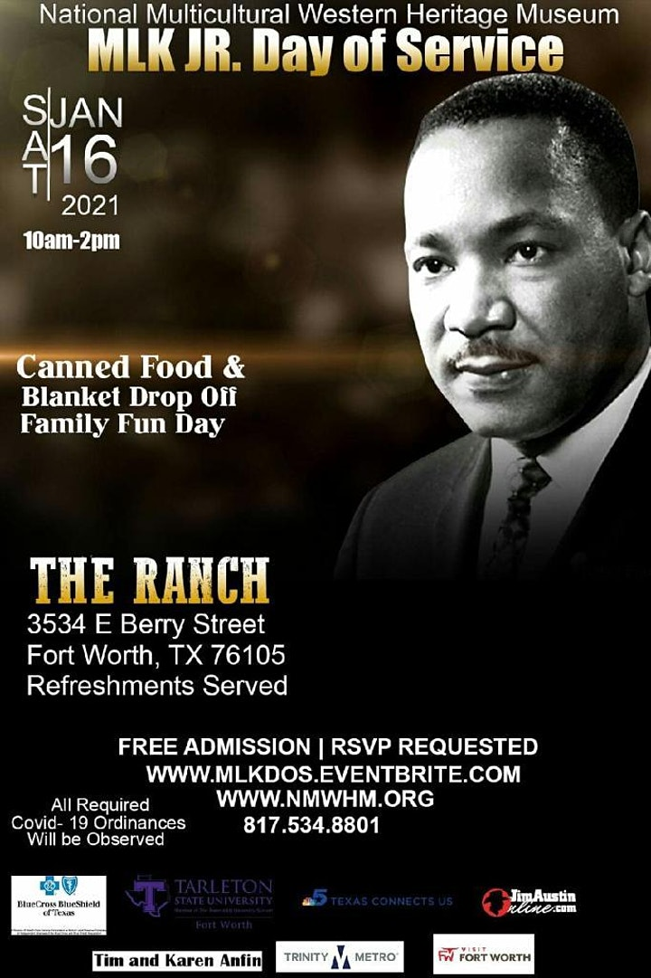 MLK JR. DAY OF SERVICE CANNED FOOD & BLANKET DROP OFF and FAMILY FUN DAY image