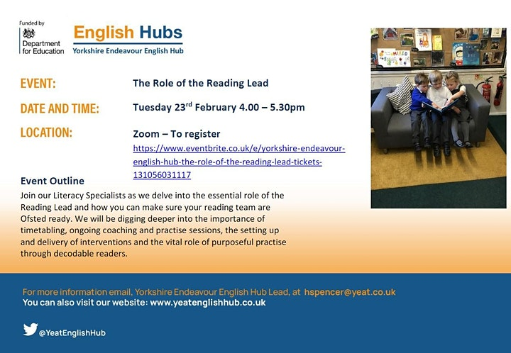 Yorkshire Endeavour English Hub - The Role of the Reading Lead image
