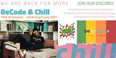 BeCode & Chill – ONLINE EVENT by  BeCode Antwerp