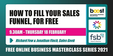 How to Fill Your Sales Funnel, for Free - FREE Business Masterclass tickets