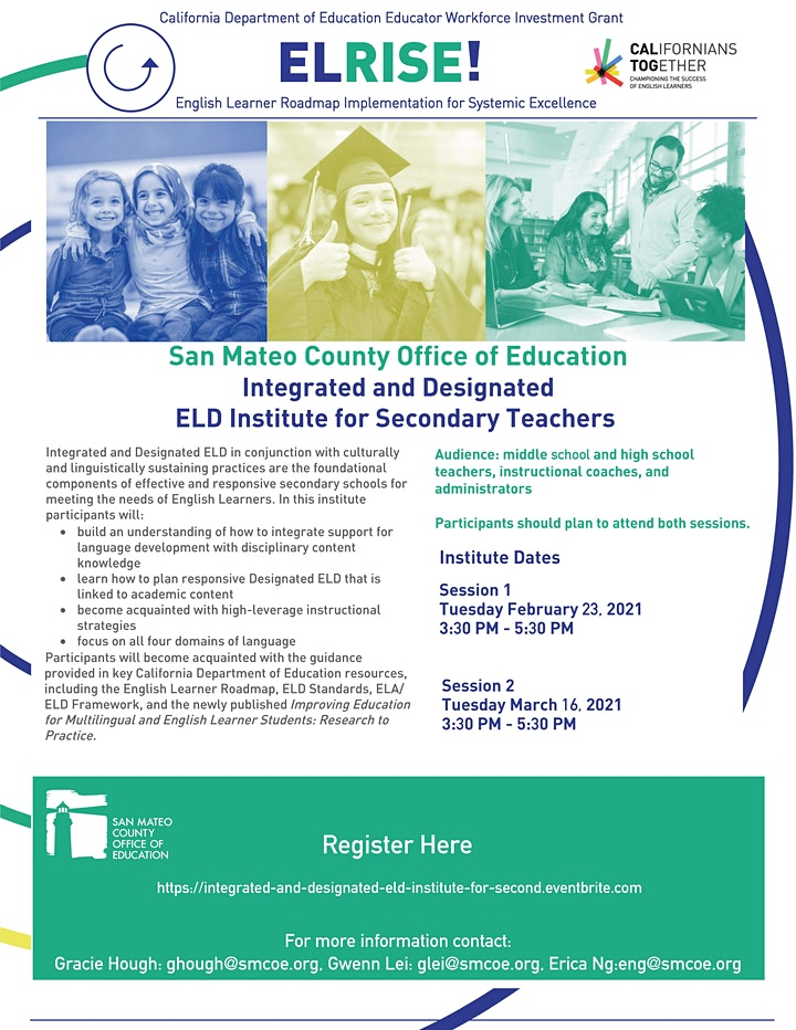 Integrated and Designated ELD Institute for Secondary Teachers: 2/23 & 3/16 image