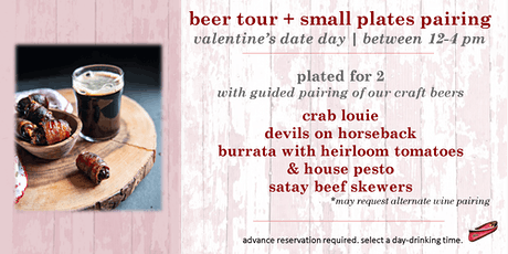 Valentine's Beer Tour & Small Plates Pairing for 2 tickets